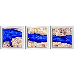 Adam Schwoeppe River Wood Essence White 38in x 12in Contemporary Style Wood Wall Art