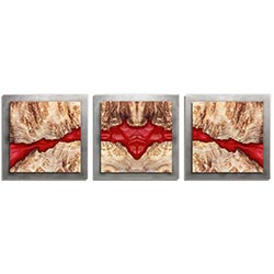 Adam Schwoeppe Molten Wood Essence Silver 38in x 12in Contemporary Style Wood Wall Art