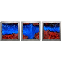 Adam Schwoeppe Extreme Wood Essence Silver 38in x 12in Contemporary Style Wood Wall Art