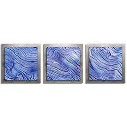 Adam Schwoeppe Blue Wood Essence Silver 38in x 12in Contemporary Style Wood Wall Art