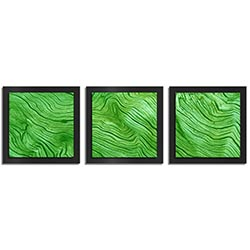 Adam Schwoeppe Green Wood Essence Black 38in x 12in Contemporary Style Wood Wall Art