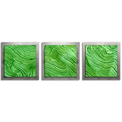 Adam Schwoeppe Green Wood Essence Silver 38in x 12in Contemporary Style Wood Wall Art
