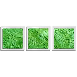 Adam Schwoeppe Green Wood Essence White 38in x 12in Contemporary Style Wood Wall Art