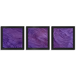 Adam Schwoeppe Purple Wood Essence Black 38in x 12in Contemporary Style Wood Wall Art