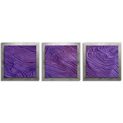 Adam Schwoeppe Purple Wood Essence Silver 38in x 12in Contemporary Style Wood Wall Art