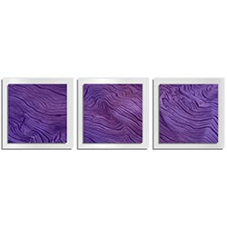 Adam Schwoeppe Purple Wood Essence White 38in x 12in Contemporary Style Wood Wall Art