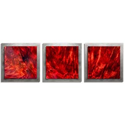 Adam Schwoeppe Crimson Wood Essence Silver 38in x 12in Contemporary Style Wood Wall Art