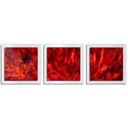Adam Schwoeppe Crimson Wood Essence White 38in x 12in Contemporary Style Wood Wall Art