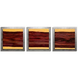 Adam Schwoeppe Striped Wood Essence Silver 38in x 12in Contemporary Style Wood Wall Art