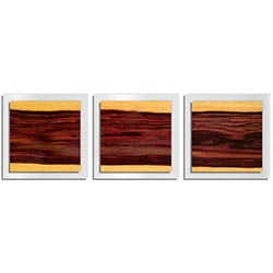 Adam Schwoeppe Striped Wood Essence White 38in x 12in Contemporary Style Wood Wall Art