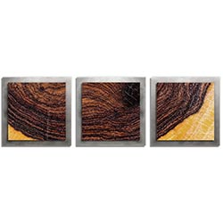 Adam Schwoeppe Bold Wood Essence Silver 38in x 12in Contemporary Style Wood Wall Art