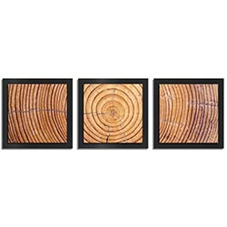 Adam Schwoeppe Ringed Wood Essence Black 38in x 12in Contemporary Style Wood Wall Art