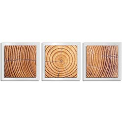 Adam Schwoeppe Ringed Wood Essence White 38in x 12in Contemporary Style Wood Wall Art