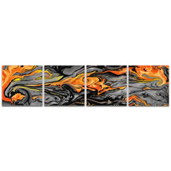 Lava Orange - Reverse-Print Acrylic Abstract Art