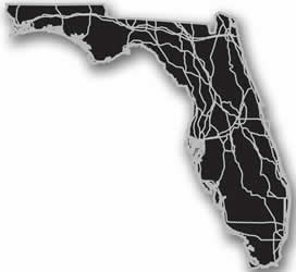 Florida - Acrylic Cutout State Map - Black/Grey USA States Acrylic Art