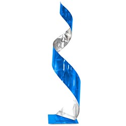Helena Martin Blue Curl Sculpture 9in x 35in Abstract Metal Art on Ground and Painted Metal