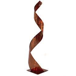 Helena Martin Lady in Brown Sculpture 8in x 36in Abstract Figurative Art on Ground and Painted Metal