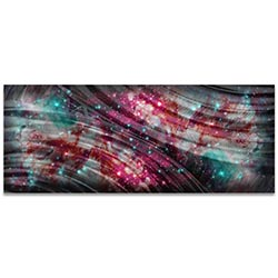 Helena Martin Cosmic Warmth 60in x 24in Original Abstract Art on Ground and Colored Metal
