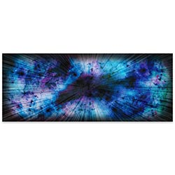 Helena Martin Blue Nebula 60in x 24in Original Abstract Art on Ground and Colored Metal