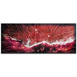 Helena Martin Celestial Landscape Red 60in x 24in Original Abstract Art on Ground and Colored Metal
