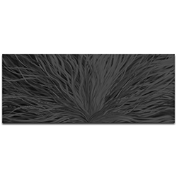 Helena Martin Blooming Black 60in x 24in Original Abstract Art on Ground and Painted Metal