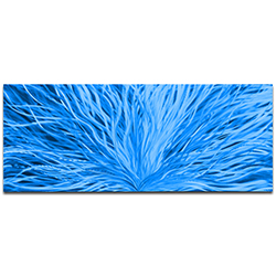 Helena Martin Blooming Blue 60in x 24in Original Abstract Art on Ground and Painted Metal