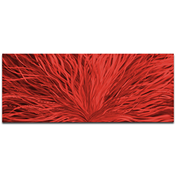 Helena Martin Blooming Red 60in x 24in Original Abstract Art on Ground and Painted Metal