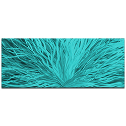 Helena Martin Blooming Teal 60in x 24in Original Abstract Art on Ground and Painted Metal