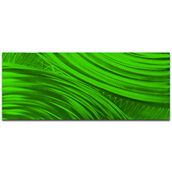 Helena Martin Moment of Impact Green 60in x 24in Original Abstract Art on Ground and Painted Metal
