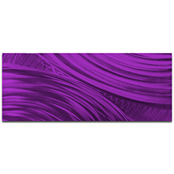 Helena Martin Moment of Impact Purple 60in x 24in Original Abstract Art on Ground and Painted Metal