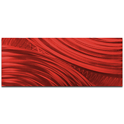 Helena Martin Moment of Impact Red 60in x 24in Original Abstract Art on Ground and Painted Metal