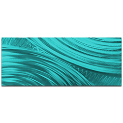 Helena Martin Moment of Impact Teal 60in x 24in Original Abstract Art on Ground and Painted Metal