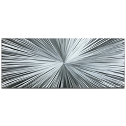Helena Martin Starburst Silver 60in x 24in Original Abstract Art on Ground Metal
