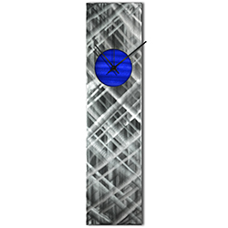 Helena Martin Plaid Relief Clock Blue 6in x 24in Modern Wall Clock on Ground and Painted Metal
