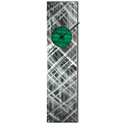 Helena Martin Plaid Relief Clock Green 6in x 24in Modern Wall Clock on Ground and Painted Metal