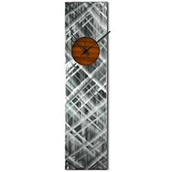 Helena Martin Plaid Relief Clock Root Beer 6in x 24in Modern Wall Clock on Ground and Painted Metal