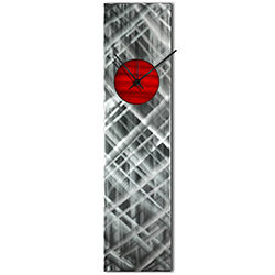 Helena Martin Plaid Relief Clock Red 6in x 24in Modern Wall Clock on Ground and Painted Metal