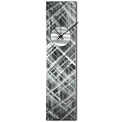 Helena Martin Plaid Relief Clock Silver 6in x 24in Modern Wall Clock on Ground and Painted Metal