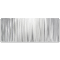 Helena Martin Silver Lines 48in x 19in Original Abstract Metal Art on Ground Metal
