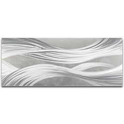 Helena Martin Silver Ribbons 48in x 19in Original Abstract Metal Art on Ground Metal