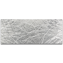 Helena Martin Silver Thatched 48in x 19in Original Abstract Metal Art on Ground Metal