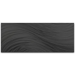 Helena Martin Black Currents 48in x 19in Original Abstract Metal Art on Ground and Painted Metal