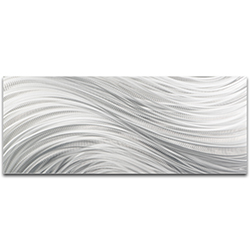 Helena Martin Silver Currents 48in x 19in Original Abstract Metal Art on Ground Metal