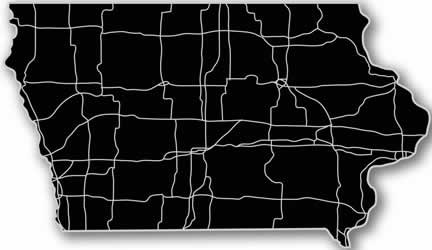 Iowa - Acrylic Cutout State Map - Black/Grey USA States Acrylic Art