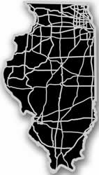 Illinois - Acrylic Cutout State Map - Black/Grey USA States Acrylic Art