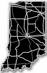 Indiana - Acrylic Cutout State Map - Black/Grey USA States Acrylic Art