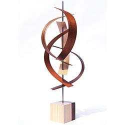 Jeff Linenkugel Sails 8in x 21in Modern Wood Sculpture on Natural Wood