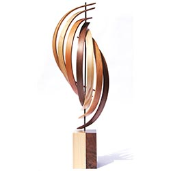 Jeff Linenkugel The Climb 10in x 30in Modern Wood Sculpture on Natural Wood