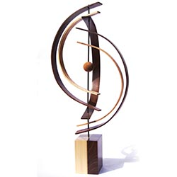 Jeff Linenkugel In Orbit 12in x 30in Modern Wood Sculpture on Natural Wood