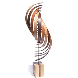 Jeff Linenkugel Ascension 11in x 45in Modern Wood Sculpture on Natural Wood